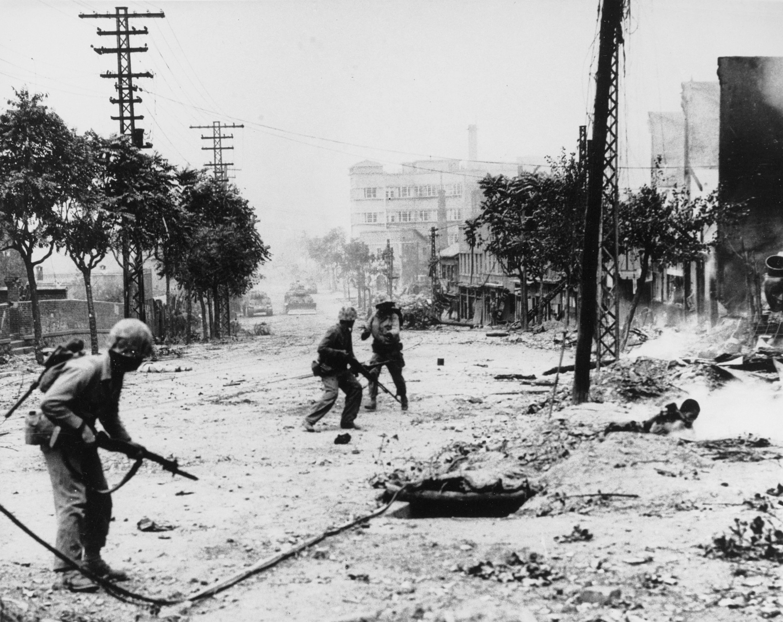 U.S. Marines engaged in street fighting