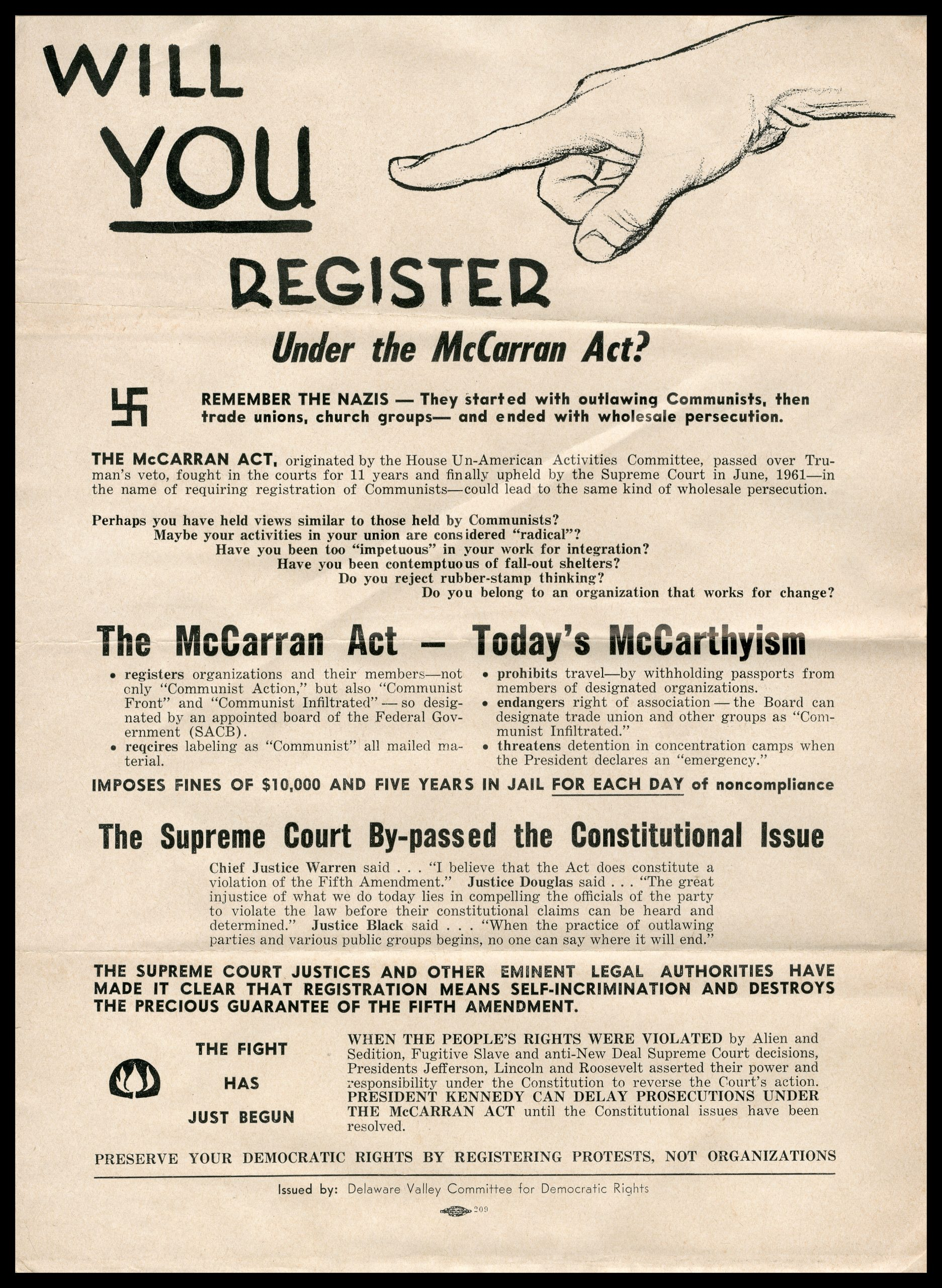 1961 poster against McCarran Act