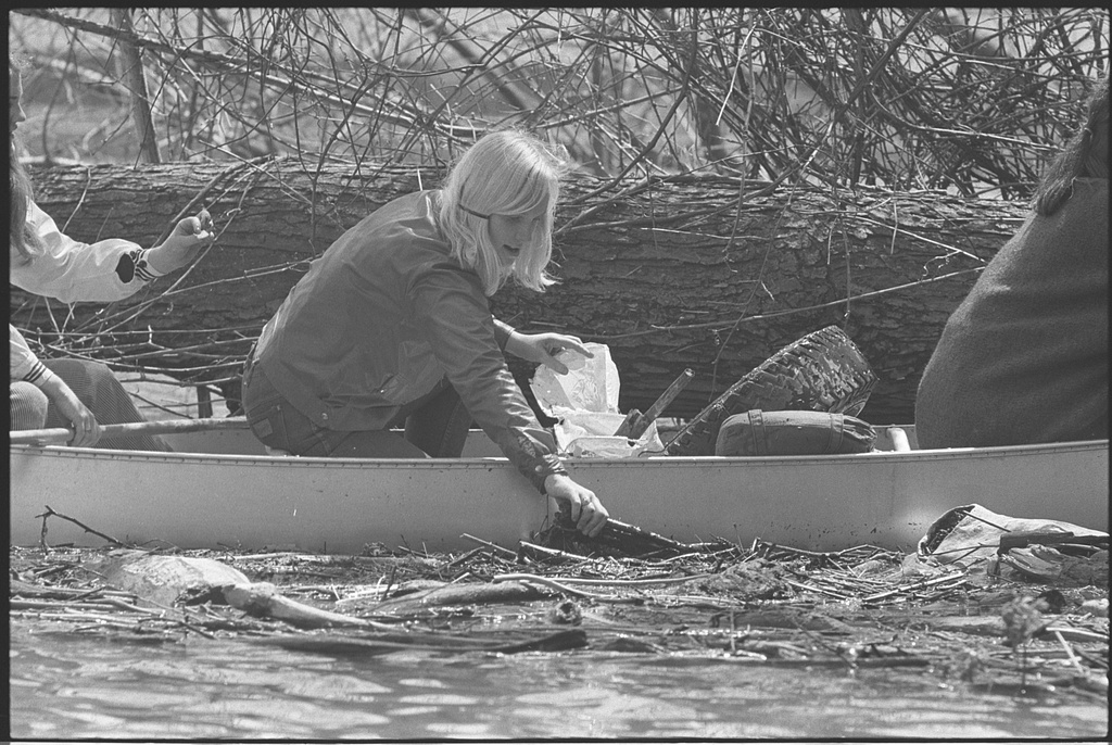 Girl Scout in canoe