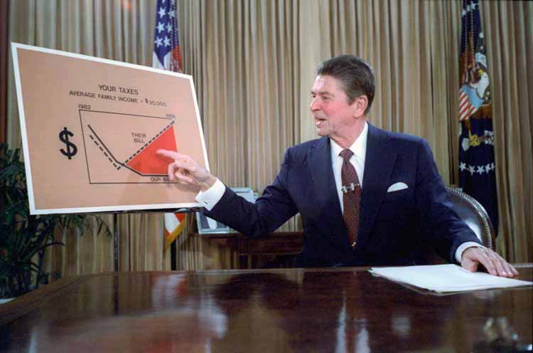 Ronald Reagan gives a televised address